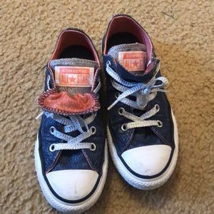 Converse (double tongue) denim colored sneakers